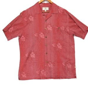 Island Shores Red 100% Silk Hawaiian Button Shirt